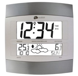 Wanduhr mit Wettervorhersage Temperatur und Kalender 24cm ws6158