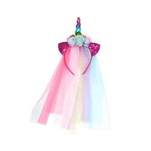 Amosfun Diadema de Cuerno de Unicornio con Velo Glitter Orejas de Gato Diadema de Flores Banda para el Cabello Niños Unicornio Favores de Fiesta de cumpleaños (patrón Aleatorio)