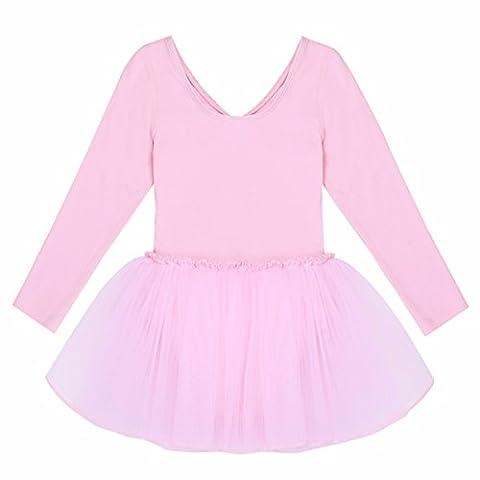 YiZYiF Mädchen Kinder Ballettanzug Ballett Trikot Anzug mit Röckchen Ballett Rock Tütü Langarm Kleid Ballettkleid 92-152 A Rosa 110-116