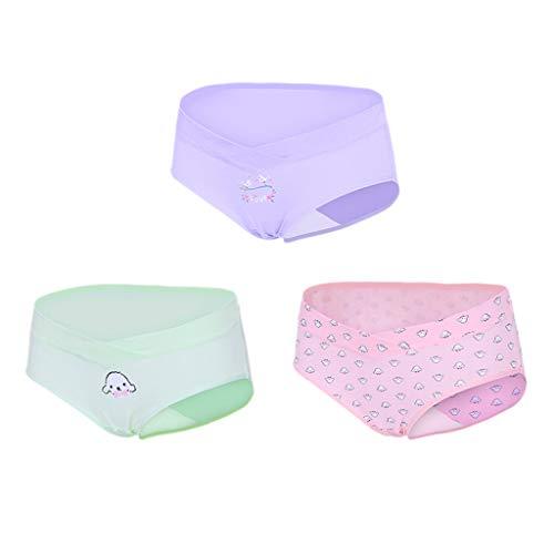 WUSIKY Unterwäsche Mutterschaft Shapewear 3 Stück Frauen Mutterschaft Höschen Schwangere V-förmige Unterhose mit niedriger Taille Pettipant Weiche Unterwäsche (Medium,C)