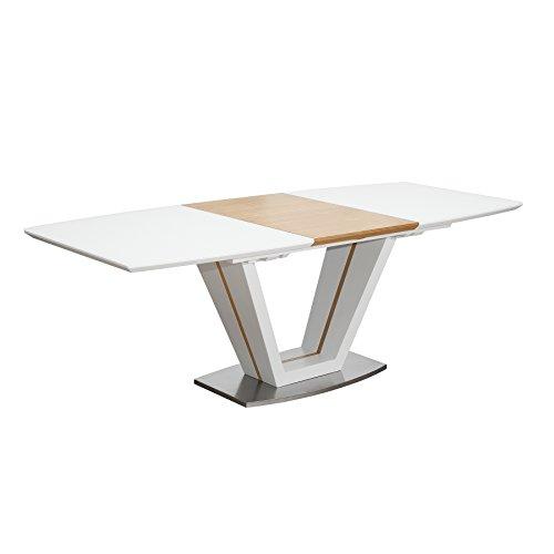 Riess Ambiente Design Esstisch Empire Ausziehbar 160-220cm edelmatt Weiß Eiche Konferenztisch