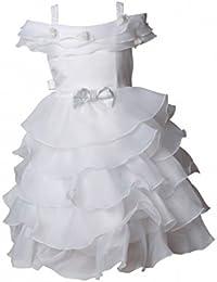 Robe Cortège pour Bébé volants superposés couleur blanche