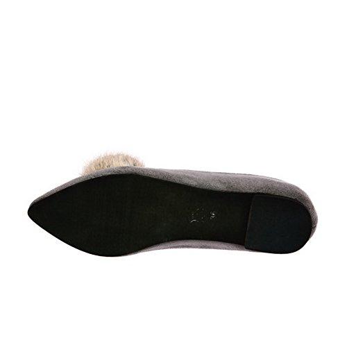 VogueZone009 Donna Pelle Di Mucca Puro Tirare Scarpe A Punta Punta Chiusa Senza Tacco Ballerine Grigio