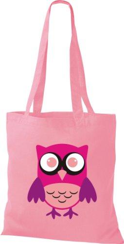 Stoffbeutel Bunte Eule niedliche Tragetasche Owl Retro diverse Farbe rosa