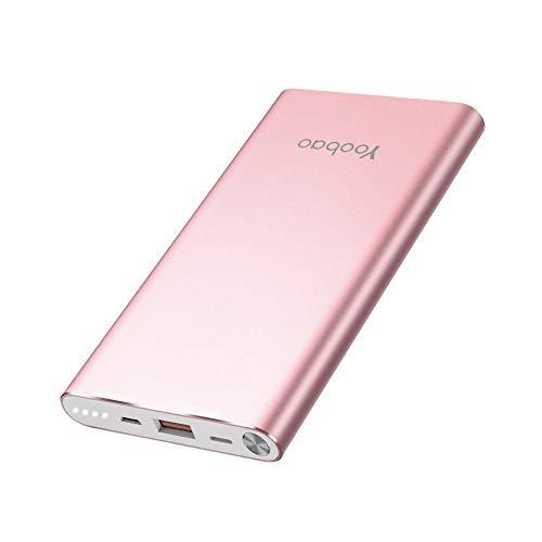 (Yoobao Powerbank 10000mAh AkkuPack mit Micro USB & Apples Lightning-Anschluss Aufladen Handy Ladegerät Kompatibe für iPhone/Xiaomi/Huawei/Samsung Galaxy (Roségold))