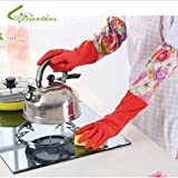 1 Pair Good Quality Non-Slip Household Gloves for Cleaning, Laundry, Dishwashing, Scrubbing and more – Size: Fits Comfortably into ladies' hands (Random Colors)