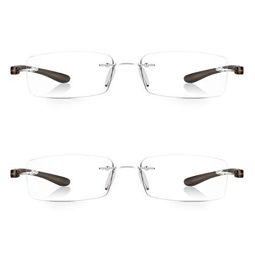 2 Pares Read Optics Hombre/Mujer Gafas de Lectura Montura al Aire: Lentes Graduadas + 2.0 Dioptrías Anti-UV/AntiReflejos – Varillas Flexibles y Resistentes de Policarbonato Gris