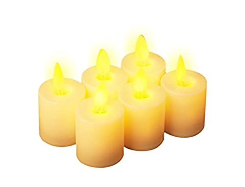 Bougie LED, Lot de 6bougies sans flamme électronique de simulation, 3V CR2032Batterie incluse 4,5cm Hauteur 4cm Diamètre, Thé Lumière Bougie Ambre, jaune flamme pour la décoration, les vacances, les mariages et les soirées