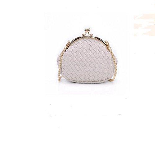 Mini Plaid sacchetto chain tessuta, spalla signora, pacchetto diagonale, polpette Frizione creamy-white
