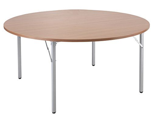 Top Office Hippo Circular Folding Meeting Table with Silver Legs, Wood, Beech, 150 cm Special