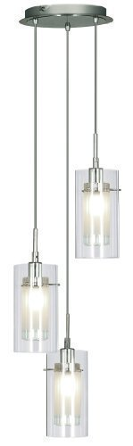 Loft - Modern Spiral 3 Glass Chrome Pendant Ceiling Light - Houseoflights