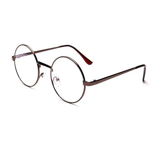 WooCo Retro runde Brille für Damen Herren, Heißer Verkauf Verspiegelte Flachlinse Fashion Classic Unisex Metallrahmen Schwarz, Silber, Grün, Gold, Kaffee(Kaffeebraun,One size)