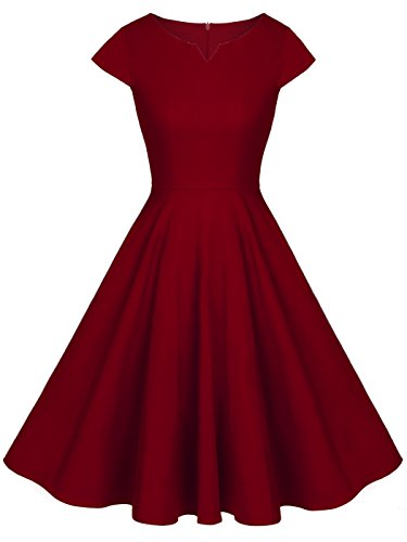 FAIRY COUPLE 1950S Retro Rockabilly Tupfen Kappen Hülsen Abschlussball Kleid DRT019(S,Burgund)