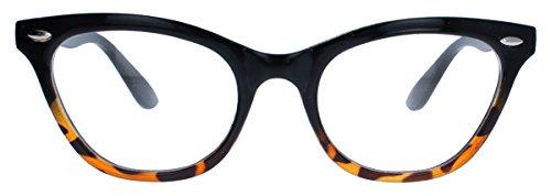 Damen Brillengestell im Stil der 50er 60er Jahre Cat Eye Nerdbrille Katzenaugen Hornbrille clear...
