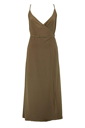 Khaki Damen Chiara Wrap Tie Side Midi Dress Khaki
