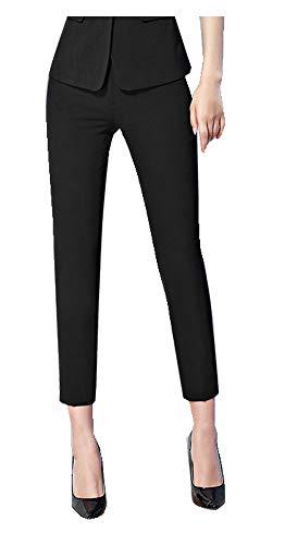 CYSTYLE Damen Gerade Hose Kellnerhose Anzug Hose Anzughose Service Classic Style mit Elastische an Taile (7/8 Stil, M)