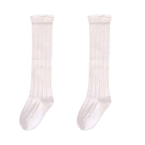 Yosemite Baby Wärmer Strümpfe Kleinkind Mädchen Baumwolle Rüschen Knie Hohe Socken Strumpfhosen, weiß -