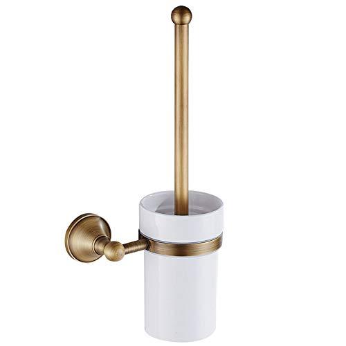 VHVCX Copper Badezimmer Toilettenbürste Hardware Retro Badezimmer Hanging Keramik Weiß Cup Messing Antik Badezimmer Bürste Rack-Badezimmer Hängen Badezimmer Regal - Antik Messing Möbel-hardware