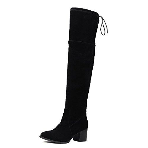 VogueZone009 Donna Allacciare Scarpe A Punta Tacco Medio Alta Altezza Stivali con Nodo Nero