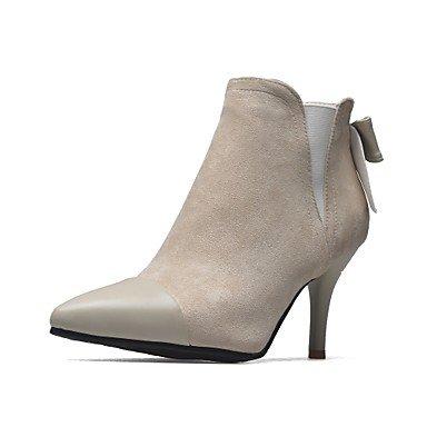Rtry Mujer Zapatos Nubuck Leather Spring Faux Leather Fall Botas De Moda Botas Stiletto Tacón Botines / Botines Bowknot Split Us6.5-7 / Eu37 / Uk4.5-5 / Cn37