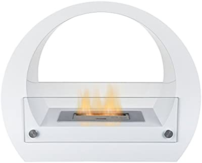 Adam The Sphere Bio Ethanol Fireplace Suite in Pure White, 25 Inches