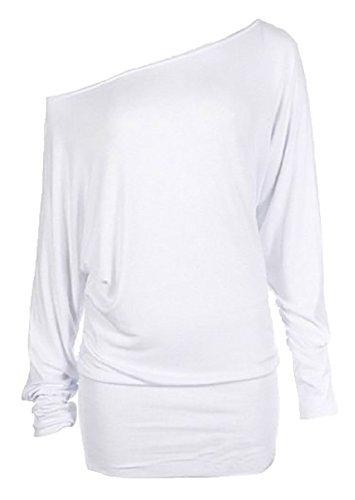 Damen Neu Schulterfrei Fledermausärmel Langärmeliges Jersey Einfarbiges Top in UK 6-22 Alle Farben, Weiß, M