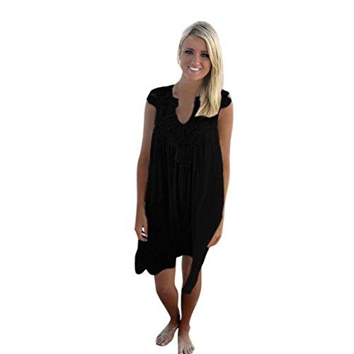 TWIFER Damen Ärmelfreies Mini Kleid Chiffon Lose Sommer Strand Spitzenkleid (Mini-kleid Gehäkelte)