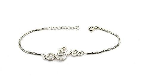 Armband Doppelstrang Venezianische Schriftzug Love mit weißen Zirkonia Sterling Silber 925hypoallergen vergoldet weiß Länge 16cm verstellbar 18cm