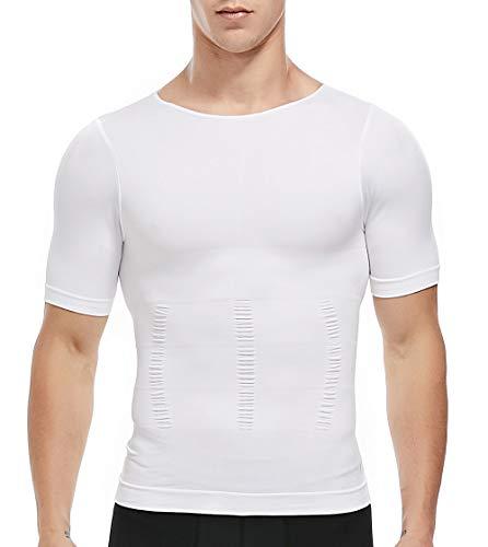 SLIMBELLE Bauchweg Shirt Herren Figurformende T-Shirt Unterhemd Slimming Top Body Shaper mit Ärmeln Kompressions Unterwäsche für Männer in weiß o. schwarz