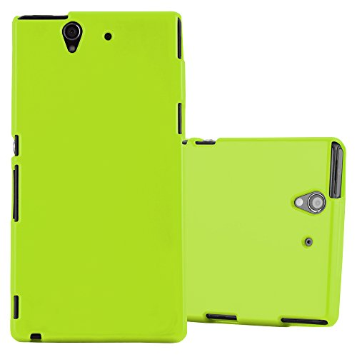 Preisvergleich Produktbild Cadorabo Hülle für Sony Xperia Z - Hülle in Jelly GRÜN – Handyhülle aus TPU Silikon im Jelly Design - Silikonhülle Schutzhülle Ultra Slim Soft Back Cover Case Bumper