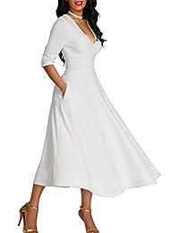 Bequemer Laden Damen Elegant Cocktailkleid Tiefes V-Ausschnitt 3 4 Ärmel  Midikleid A-Linie Kleider Abendkleid mit… 23ceedea42
