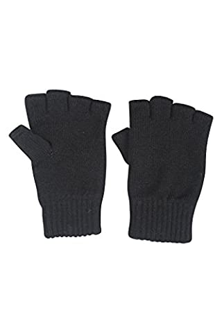 Mountain Warehouse Fingerless Knitted Gloves - Lightweight, Knitted, Ribbed Cuffs with Extra Warmth - Ideal for walking, cycling or everyday use in cooler weather Black