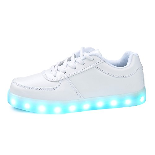 SGoodshoes Enfants Garçons Filles LED Lumineux Clignotante Baskets Chaussures Sneakers Chaussures USB Rechargeable Blanc 3