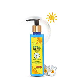 Blue Nectar Cocoa Butter Nargis Brightening Body Sunscreen Lotion with SPF 30 PA ++ - No Parabens, Silicones, Mineral Oil, Color (10 Ayurvedic Herbs, 200 ml)