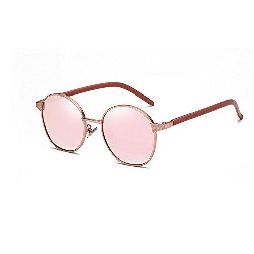 Easy Go Shopping Sonnenbrille Zweifarbige reflektierende Linse Vintage Style Classic Frame Unisex UV400 Schutzbrille (Farbe : Rosa)