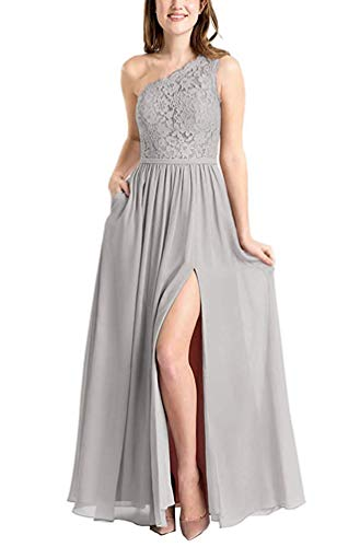 One Shoulder Lace Brautjungfer Kleid für Frauen Bridal Guest Party Kleid Maxi Rock (Silver-38)