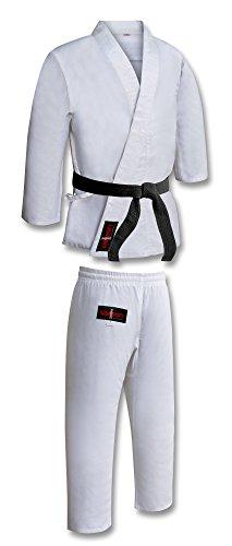 Traje/Uniforme de Karate de Polialgodón para Niños - Color Blanco - Blanco Blanqueado, 1/140cm 10-11 años - Peso medio, lona de 12oz -- blanco lejía. - Poliéster/algodón -- Inencogible (no como otros trajes que pueden reducir su tamaño). - Se envuelv...