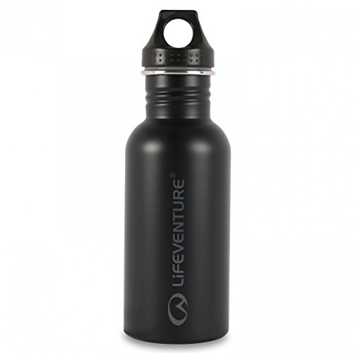 LifeVenture Stainless Steel 0.6L Water Bottle One Size Black