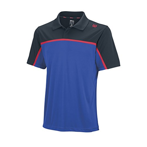 Wilson, Polo da tennis Uomo, Blu (Blue Iris/Coal/Neon Red), S