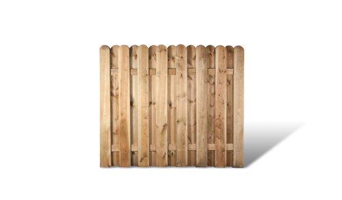 """Robuste Dichtzaun Zaunelemente in den Maßen 180 x 150 cm mit starken Lamellen aus Kiefer/Fichte Holz, druckimprägniert \""""Frankfurt\"""""""