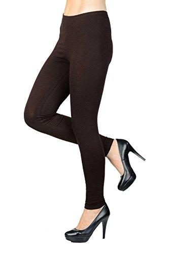 jandaz® Standard- oder Winter Dick voller Länge oder zugeschnitten Leggings Größen S-3X L 95% Baumwolle Vielzahl von Farben. Full Length Brown