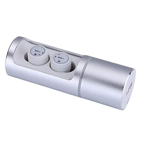 ZUEN M2 + TWS Wahre drahtlose Ultra Mini Bluetooth Kopfhörer Sport Ohrhörer Zwillinge Stereo Mikrofon Headset Ohrhörer für Smartphone,White