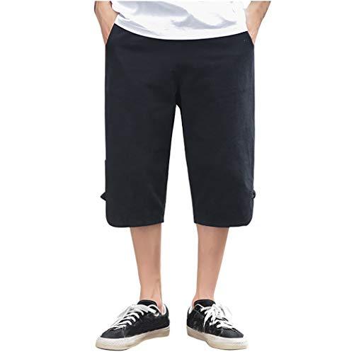 SSUPLYMY Pants Leinen Baumwolle Shorts Männer Herren Sommer Solid Beach Casual Elastische Taille Klassische Passform Hosen Kurze Hosen Lässige Baumwolle und Leinen Retro-Kurze - Hat Check Girl Kostüm