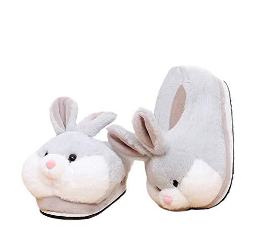 Bande dessinée Animaux Lapin Chaussures Maison Chaussures Chaudes Neutres en Peluche Douce Maison Pantoufles Lapin Chaussures (Gray)