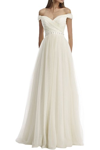 Gorgeous Bride Schlicht Traeger A-Linie Lang Chiffon Abendkleider Cocktailkleid Ballkleider Weiß