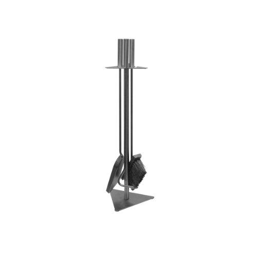 amino- Flam Kaminbesteck 3-teilig - Kamin-Zubehör mit Besen / Schaufel / Schürhaken / Ständer - Kamingarnitur mit Stahlgriffen Grau - Kamin-Werkzeuge aus Stahl - Kaminzubehör mit Standfuß für Holzofen