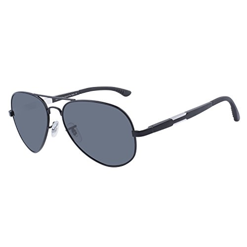 Duco Unisex Aviator Stil Polarisierte Sonnenbrille, Pilotenbrille mit Federscharnier, Etui und Putztuch, 3026 (Gestell: Schwarz, Gläser: Grau)