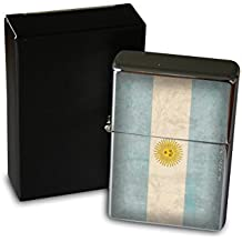 Encendedor Cromo De Gasolina Recargable Trotamundos Argentina bandera