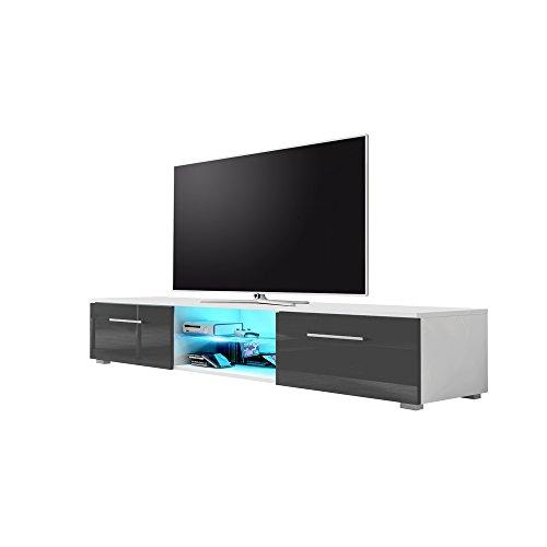 Edith - Meuble TV (140cm, Blanc mat / Gris Brillant avec l'éclairage LED Bleue)