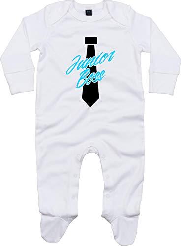 Kleckerliese Baby Schlafanzug Schlafstrampler Sprüche Einteiler Jungen Mädchen Sleepsuit mit Aufdruck Motiv Junior Boss, White 6-12 Monate
